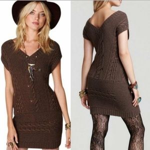 FREE PEOPLE Cable Knit Sweater/Dress Brown Small